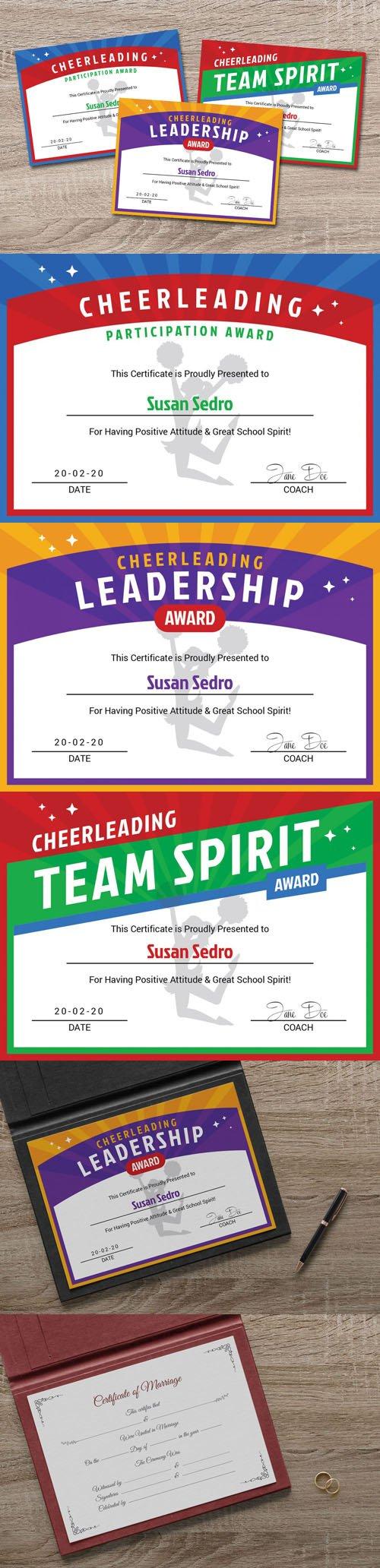 Cheerleader Award Certificate & Wedding Card Design Templates