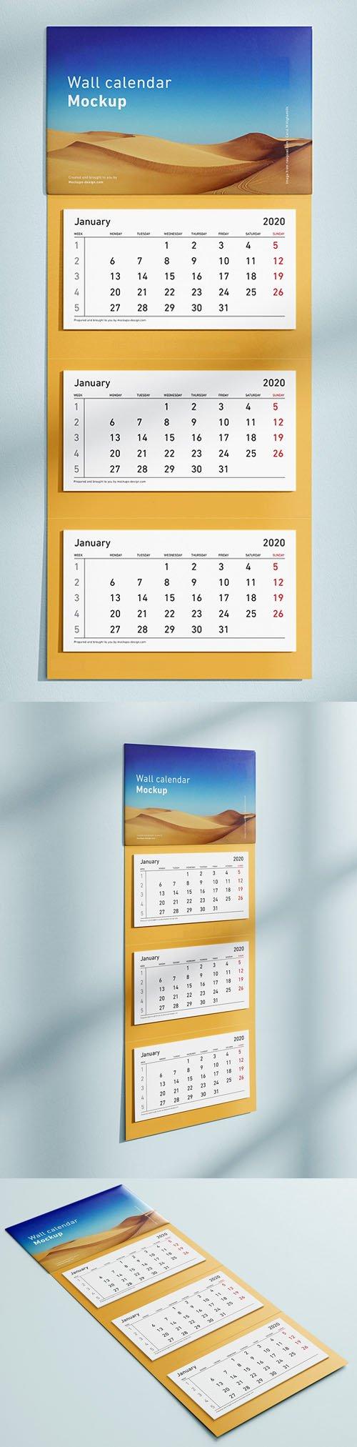 3 Panel Wall Calendar 2020 Mockup in PSD