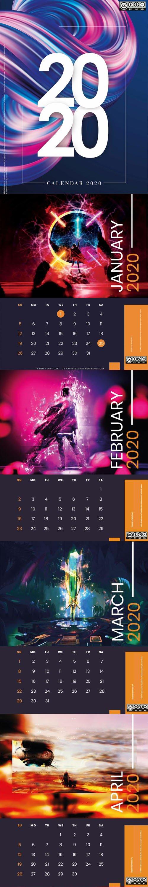 Calendar 2020 - Digital Art Template