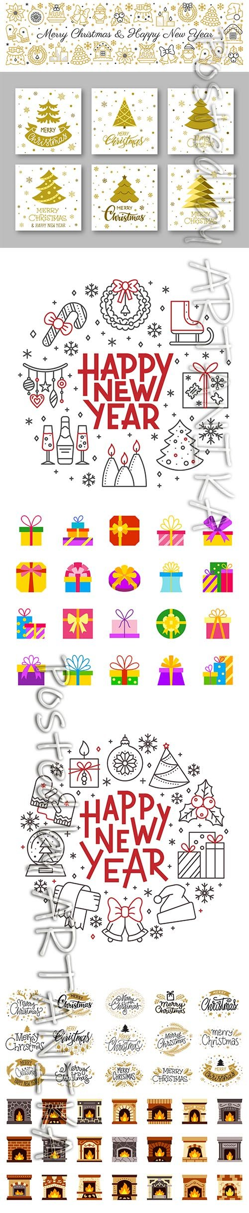 Merry Christmas Gold and Black Lettering Text Illustrations ans Icons Set