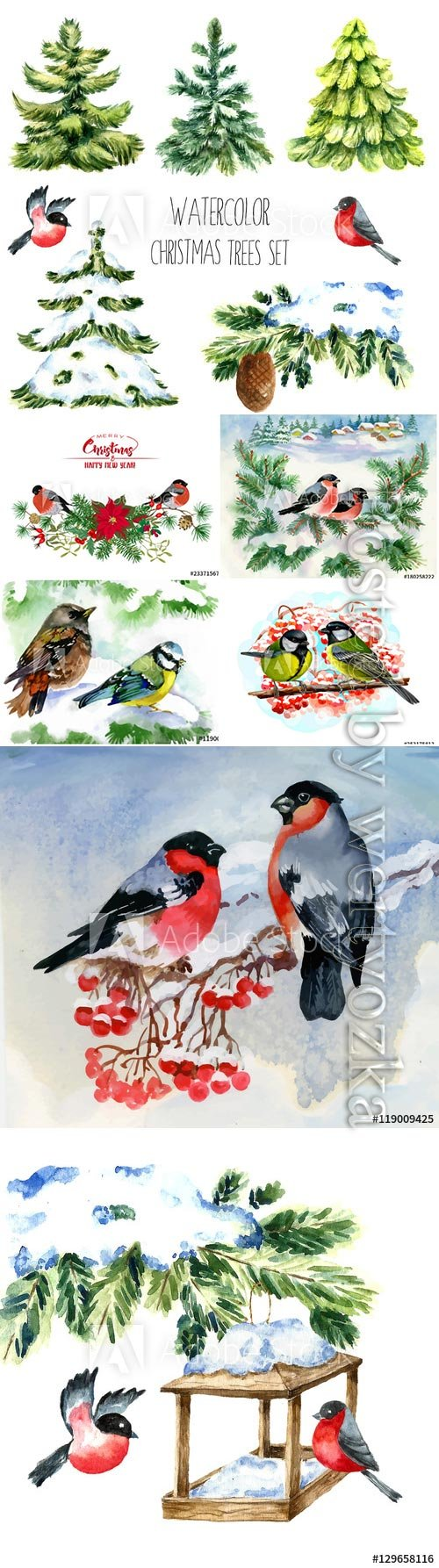Watercolor christmas trees, birds on snowy tree branch
