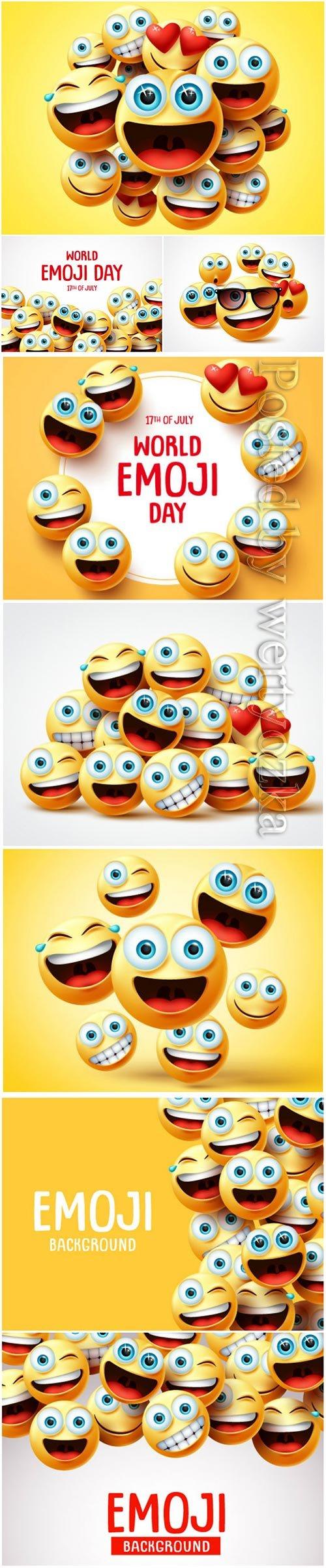 Smiley emoji faces group vector design