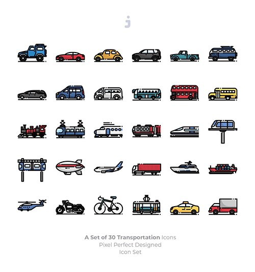 30 Transportation Icons