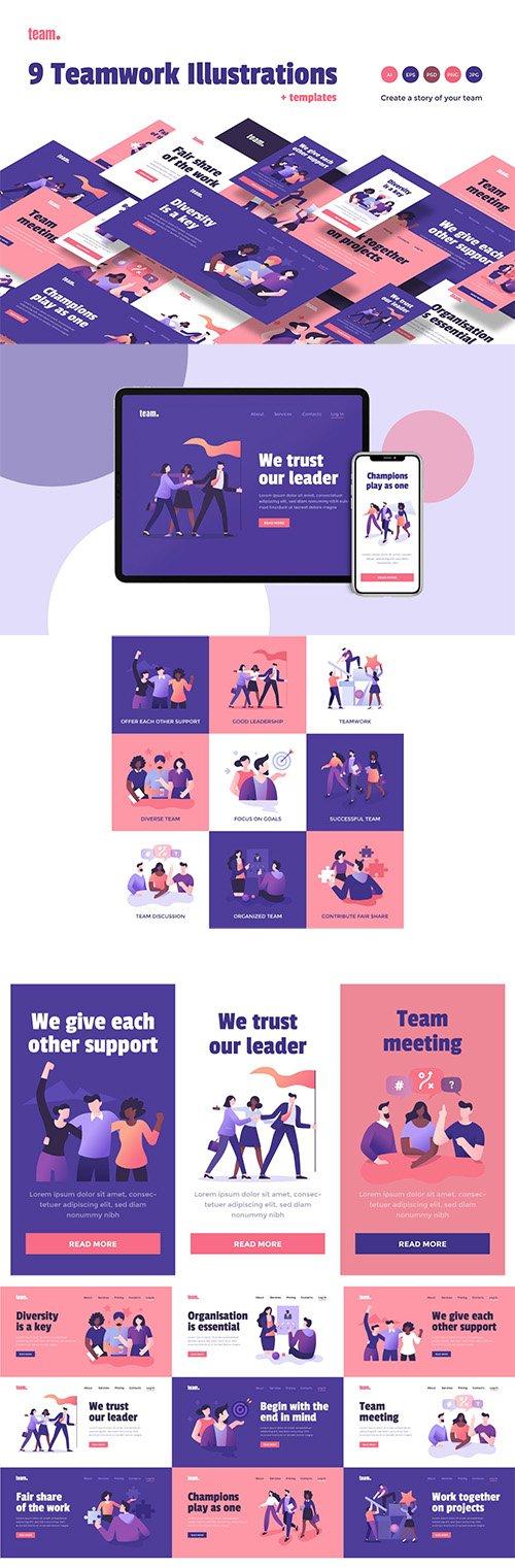 9 Teamwork Spot Concepts Set