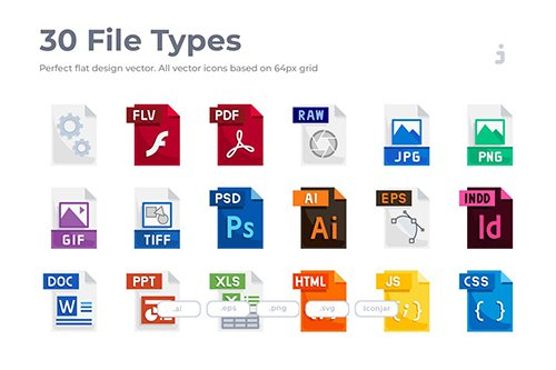 30 File Types Icons - Flat