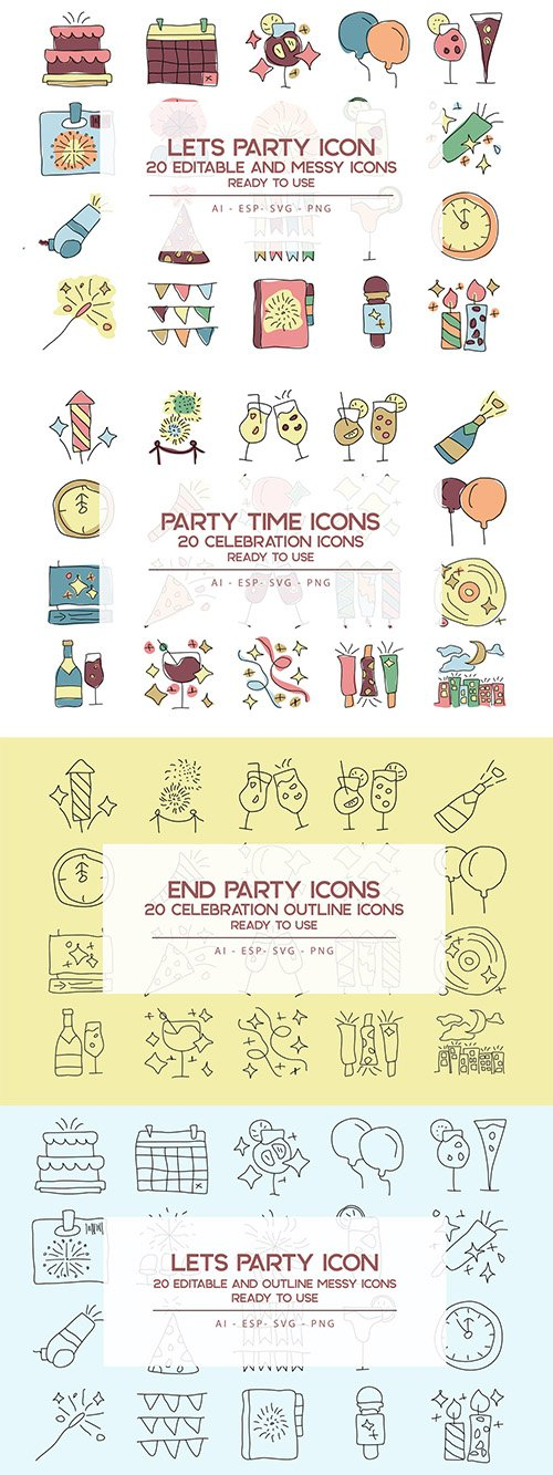 Party Time Icons Set PSD