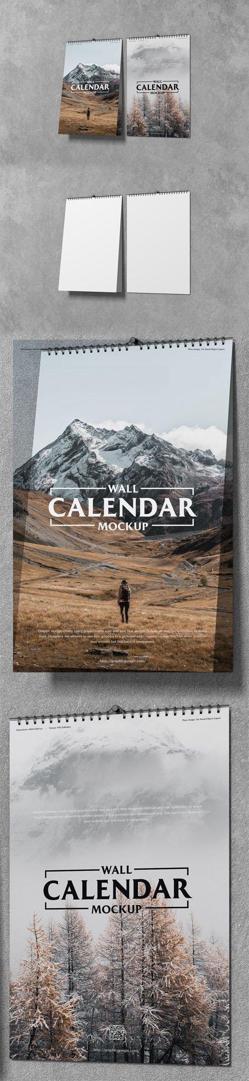 11x17 Wall Calendar PSD Mockup Template