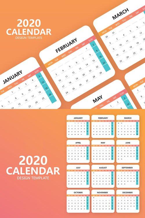 2020 Calendar Design Vector Template