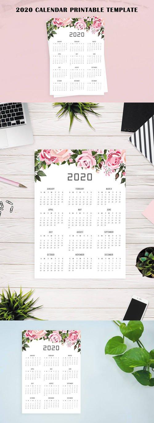 2020 Calendar Printable PSD Template
