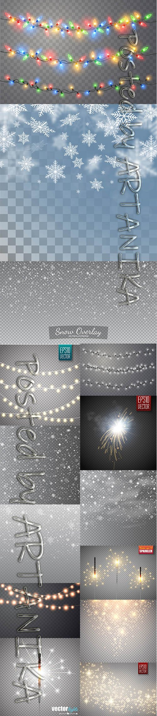 Festive Christmas Sparkler, Falling Snow and Fire Sparks Set Isolated Transparent