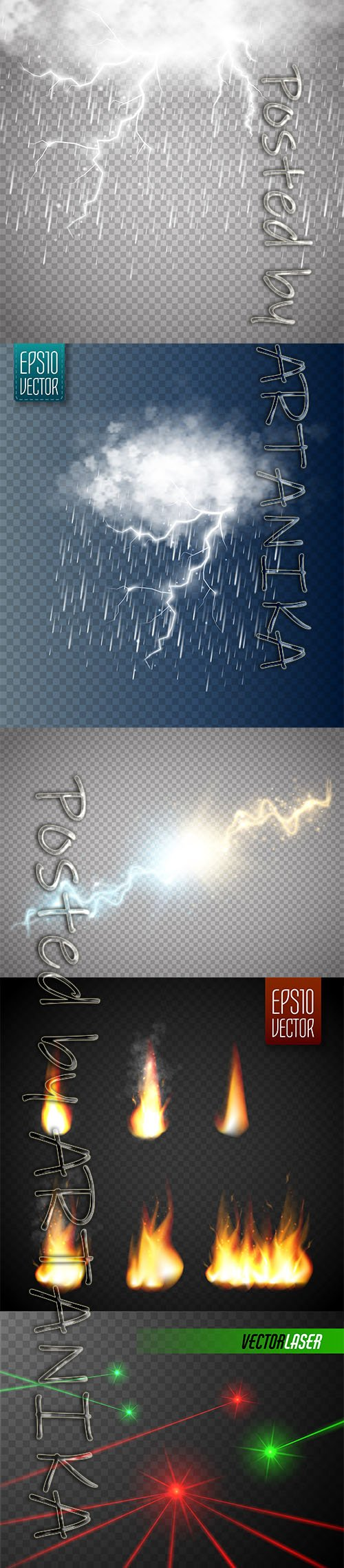 Set of Storm Lightning with Rain, Laser Beams and Fire Flames Isolated Transparent