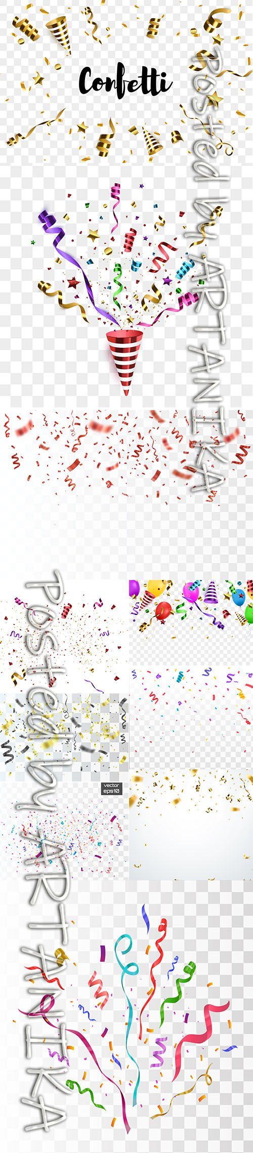 Colorful Confetti with Balloons Vector Illustration Set