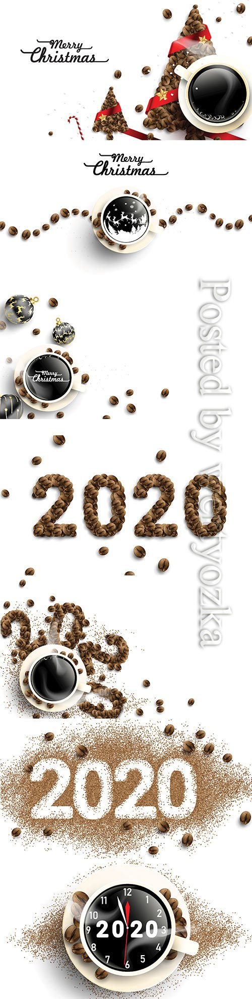 2020 coffee beans text number design, cup of hot coffee with