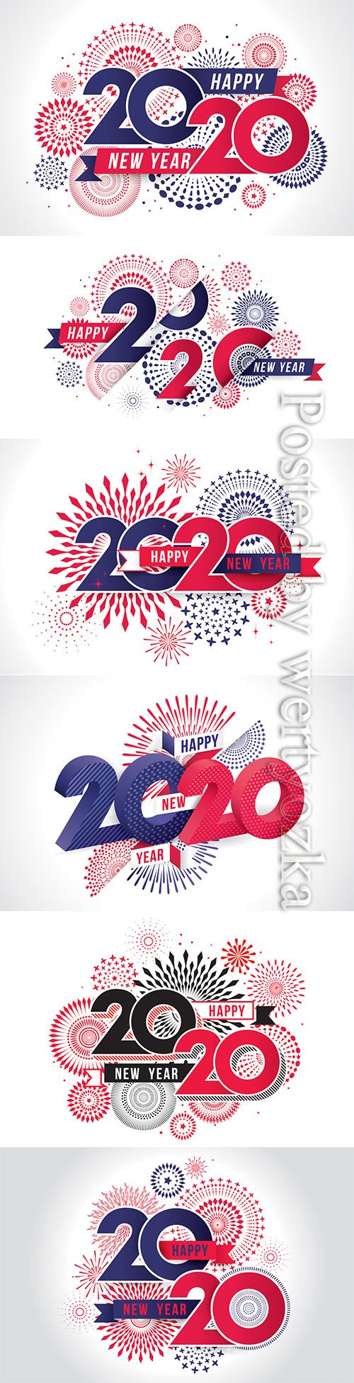 Happy new year 2020 vector illustration of fireworks