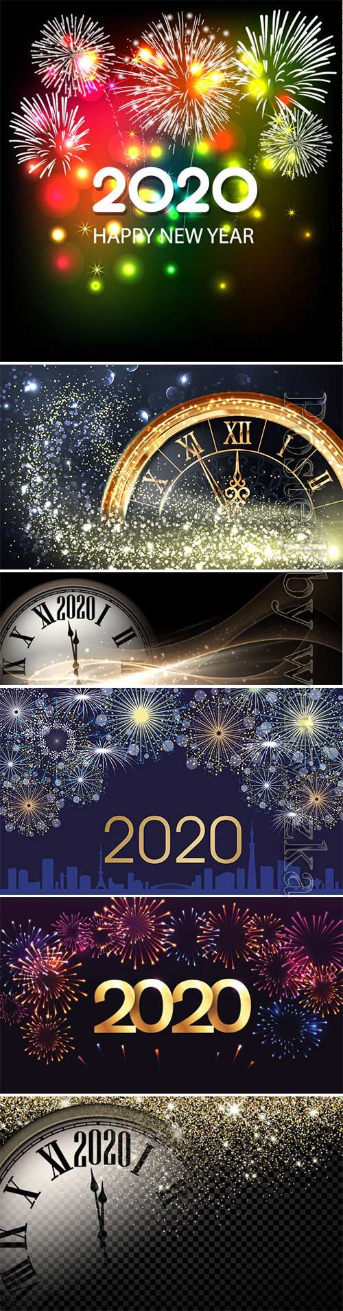 New Year 2020 golden and color vector fireworks