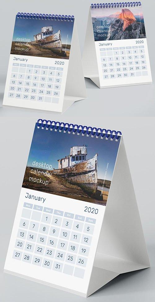 A5 Desktop 2020 Calendar PSD Mockup
