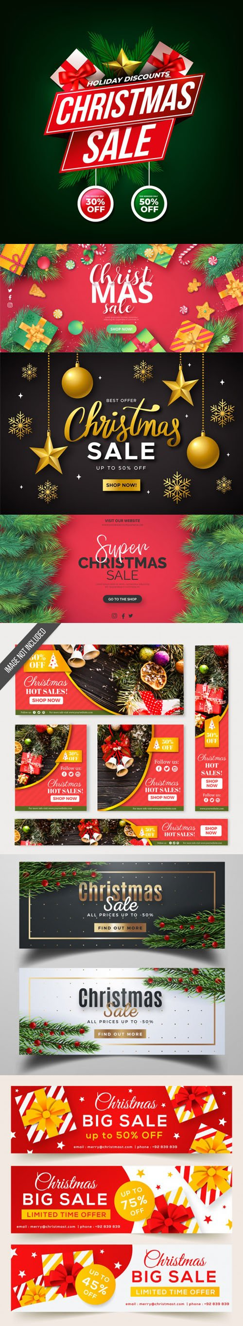 Holiday Sales Banners Vector Collection 3