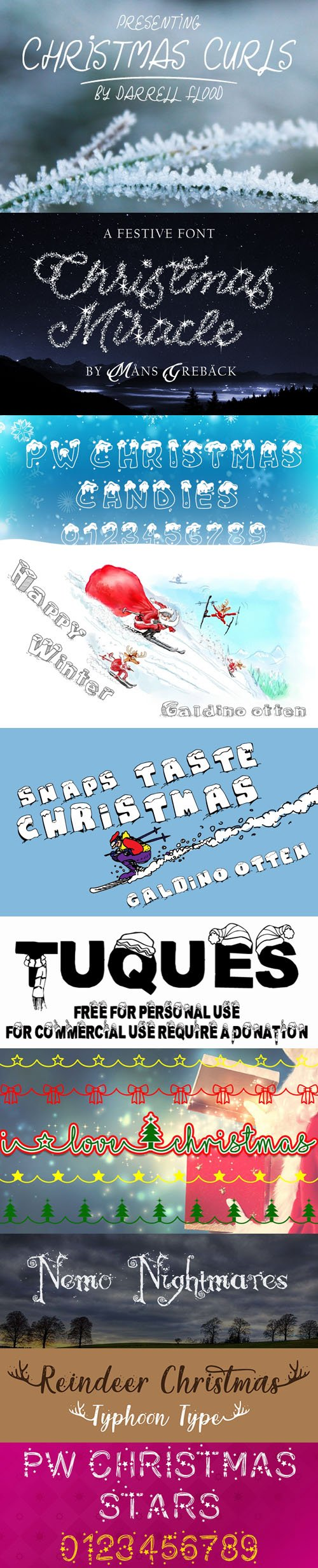 29 Holiday Fonts Collection