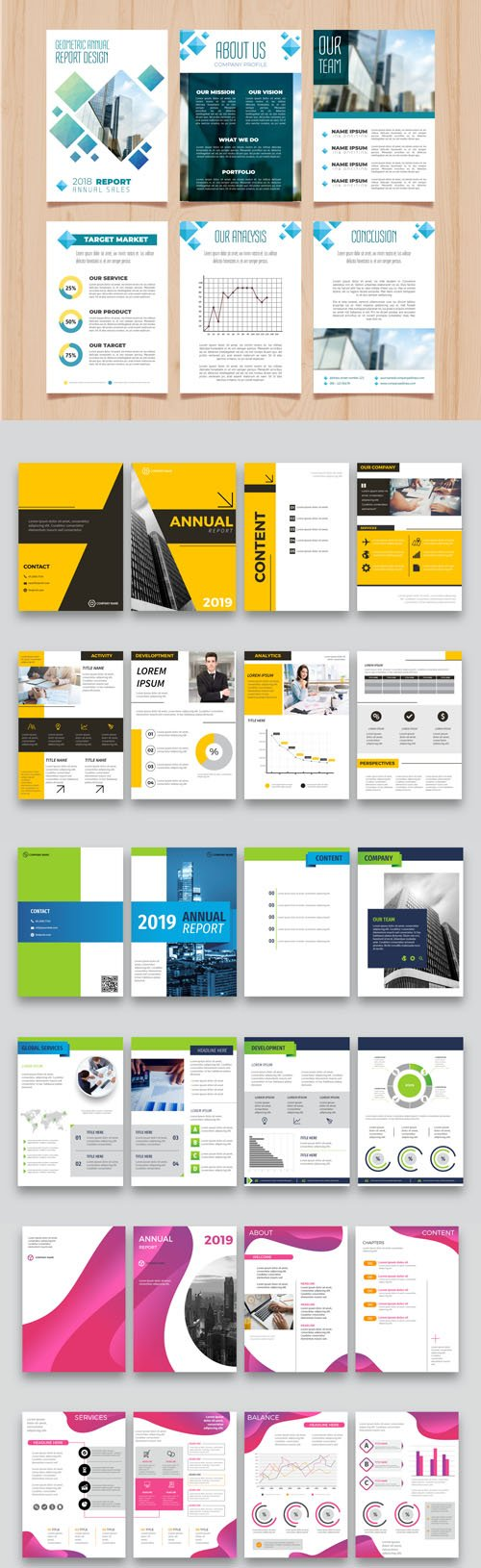 Annual Report Vector Templates Collection