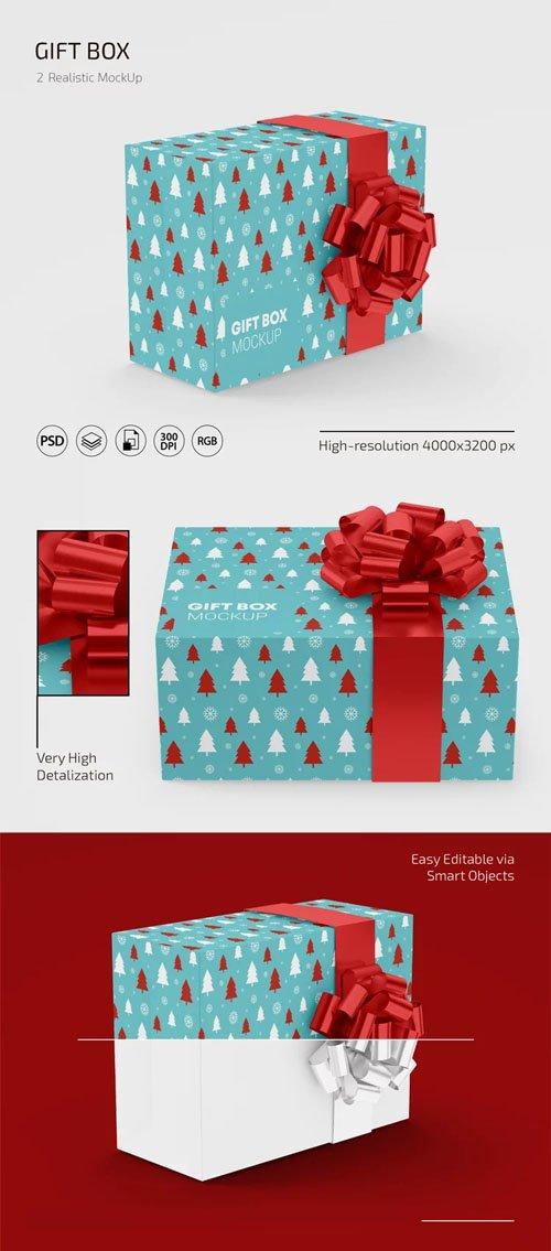Realistic Gift Box PSD Mockup Template