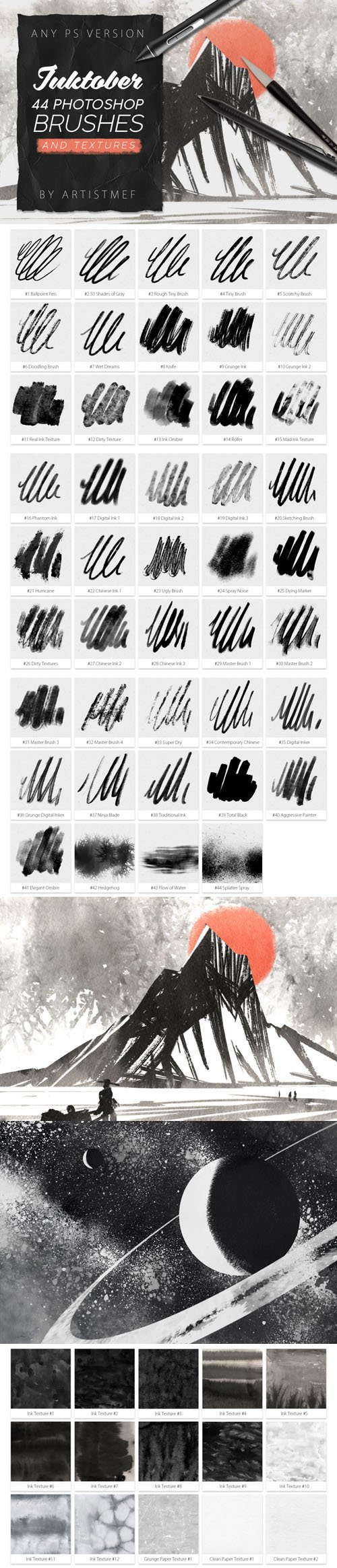 Inktober 44 Photoshop Brushes & Textures Collection