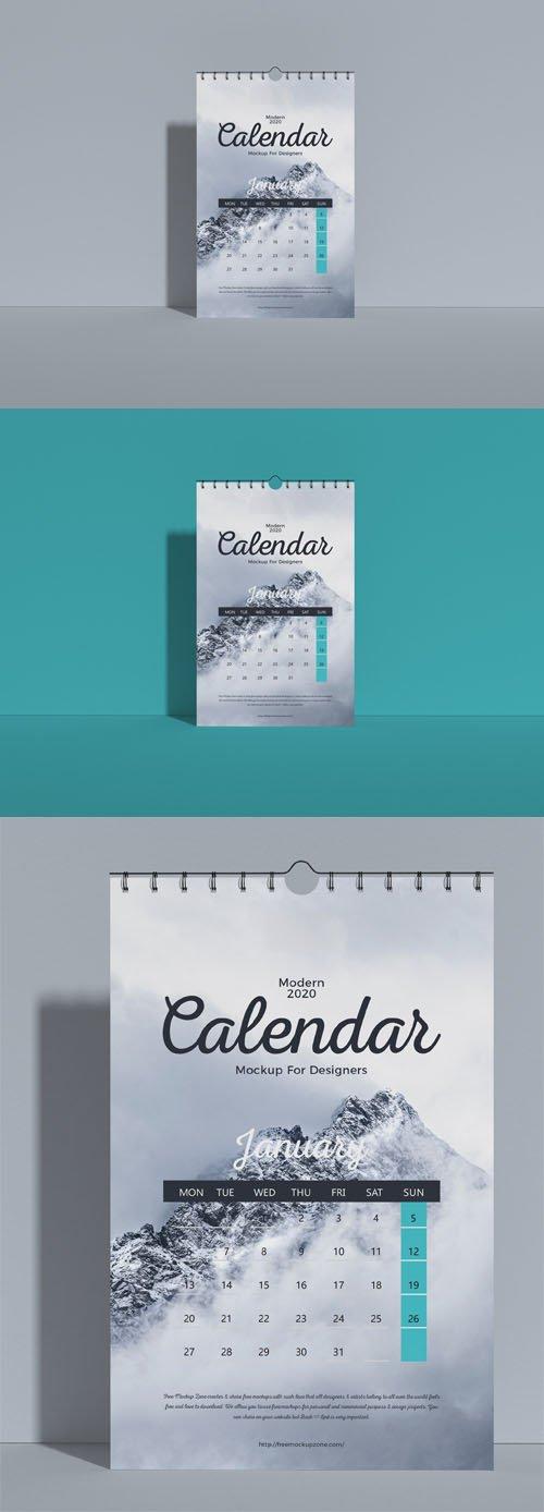Modern 2020 Wall Calendar PSD Mockup
