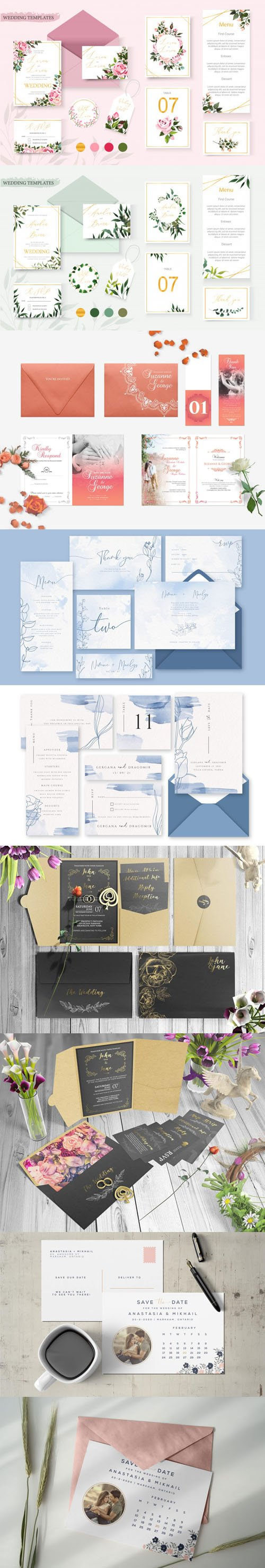 Wedding & Invitation Stationery Vector Templates Collection