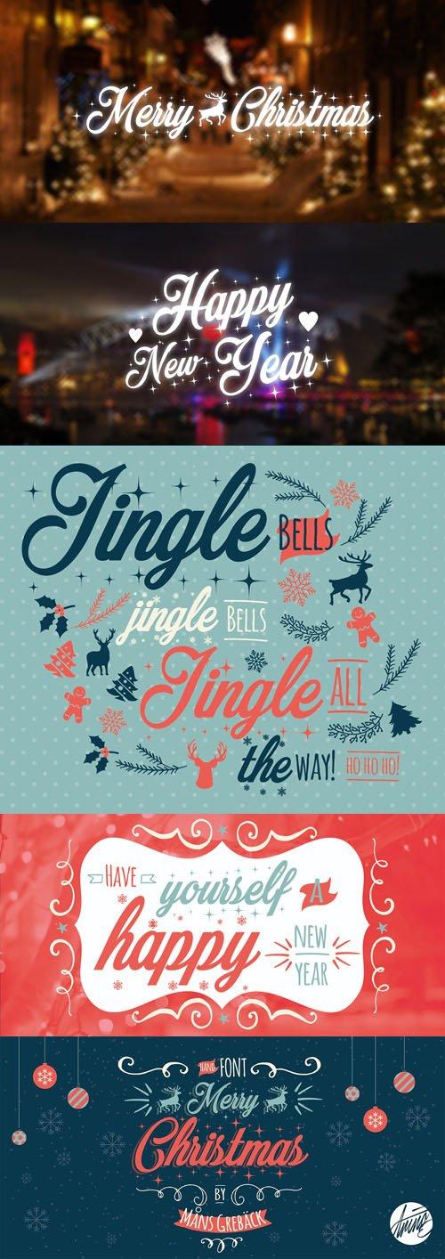 Merry Christmas Flake + Merry Christmas Star Fonts