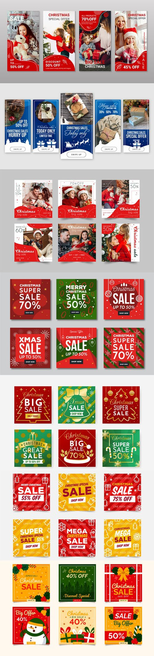 Holiday Sales Instagram Story Vector Collection 2
