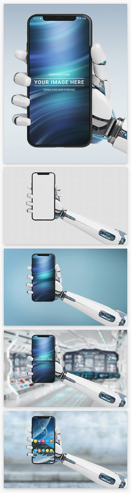 Isolated Smartphone in Robot Hand Mockup 220288620 PSDT