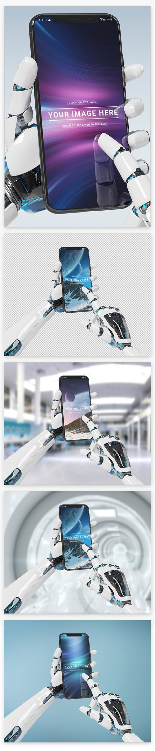 Isolated Smartphone in Robot Hand Mockup 220287945 PSDT