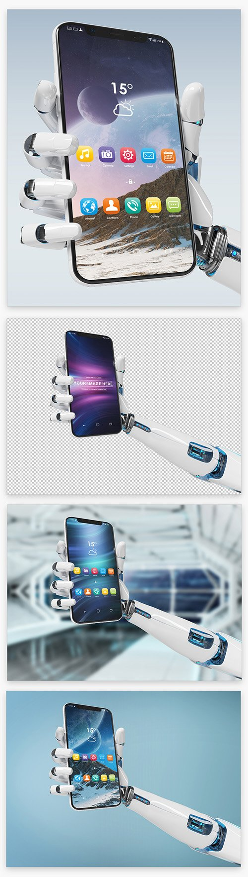 Isolated Smartphone in Robot Hand Mockup 220288384 PSDT