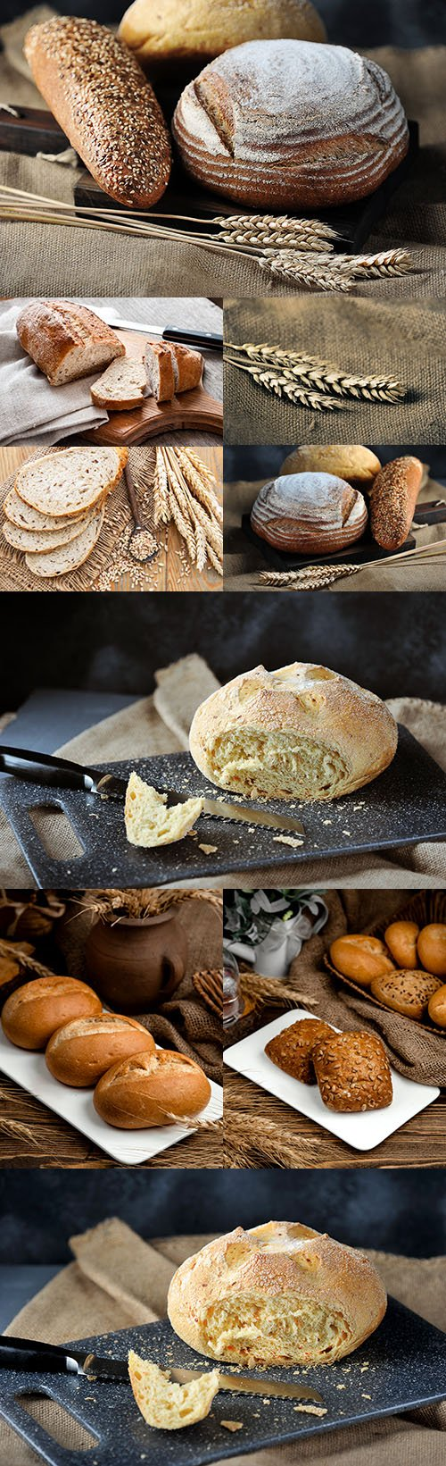 Loaf of fresh and flavoured bread and wheat flakes