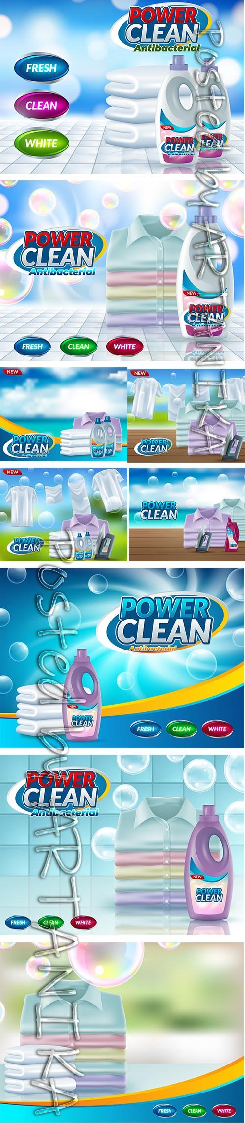 Set of Powder Laundry Detergent Advertising Backgrounds