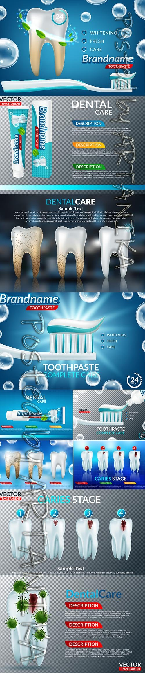 Collection of Dental Care Teeth Illustration Vol 2
