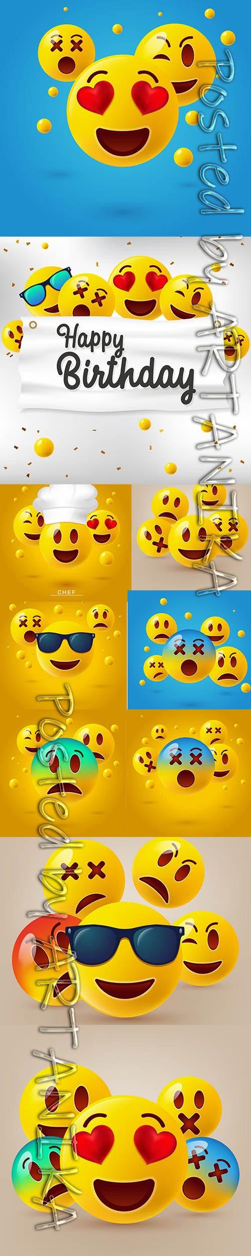 Cute Emoticons Illustration Set