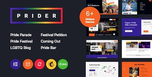 ThemeForest - Prider v1.0.1 - LGBT & Gay Rights Festival WordPress Theme + Bar - 24530119