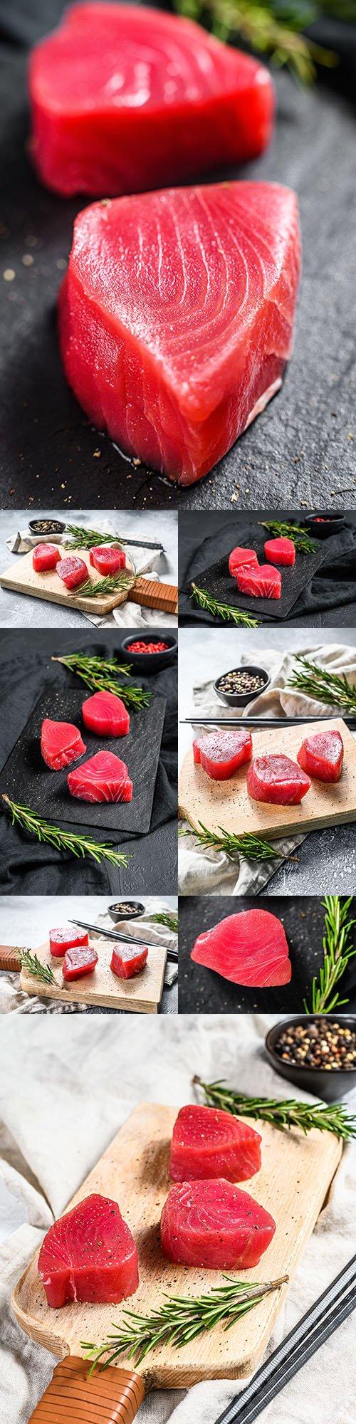 Tuna fresh steak with rosemary useful food