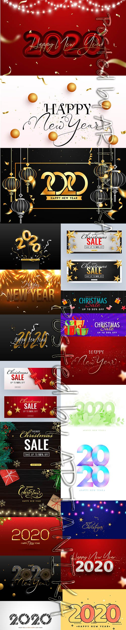 Happy New Year 2020 Illustration and Christmas Backgrounds Set