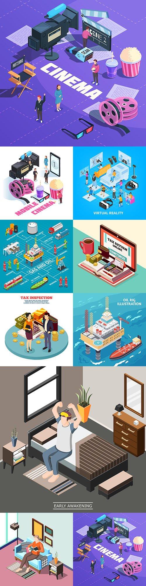 Isometrics flat business technology and people design 12