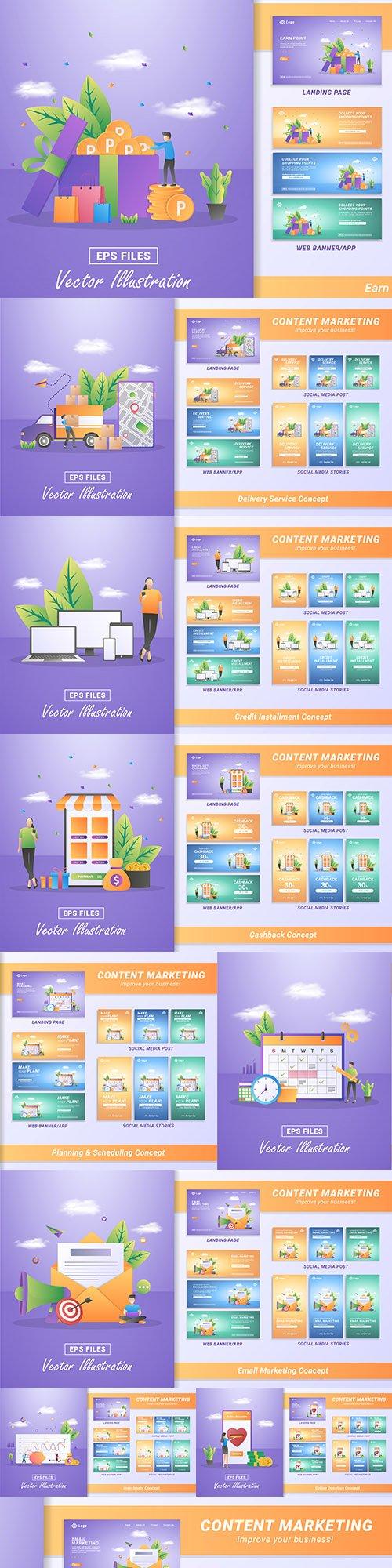 Online marketing content material design flat banner