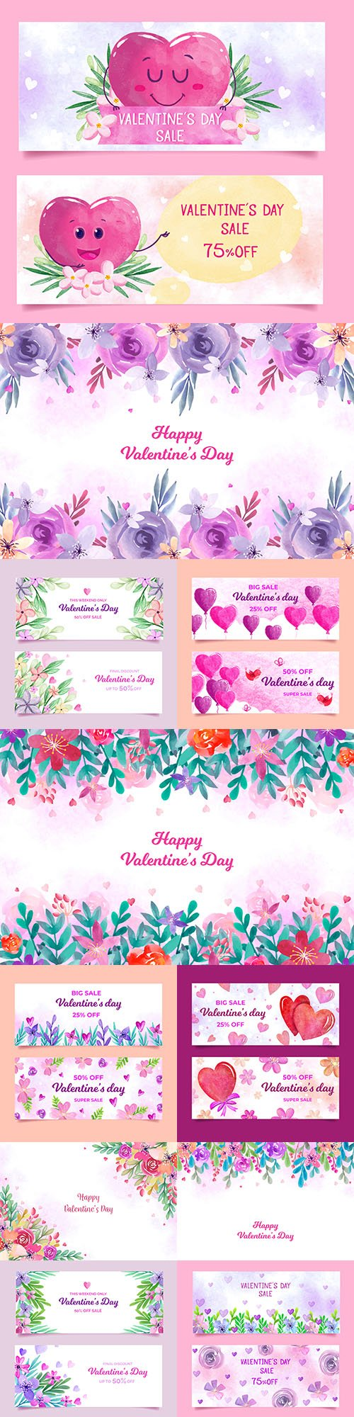 Valentine's Day background and banner watercolor design