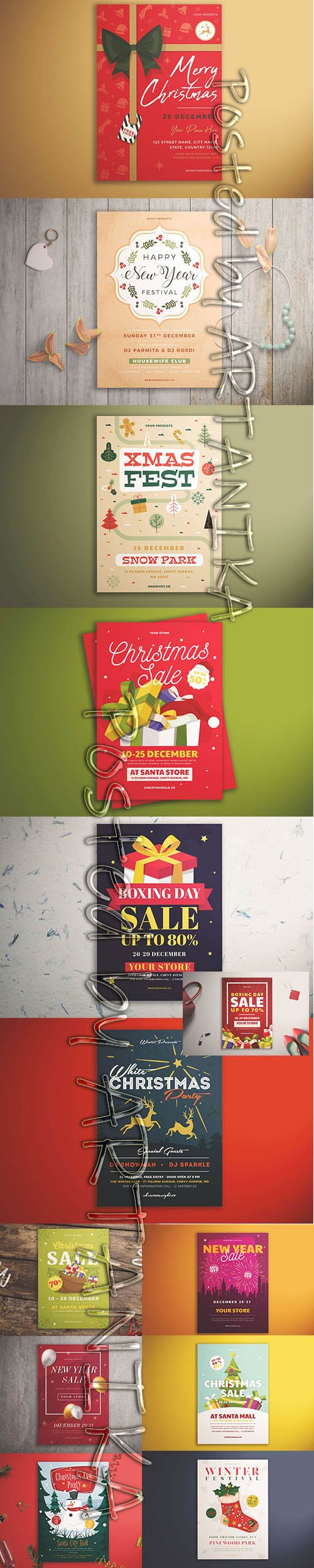 Christmas and New Year Sale Flyer Template Pack