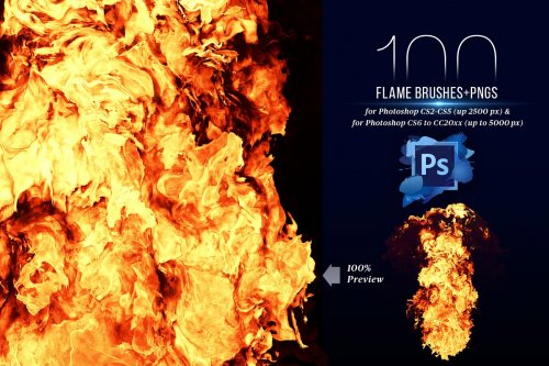 CreativeMarket - 100 Photoshop Flame Brushes + PNGs 4420561