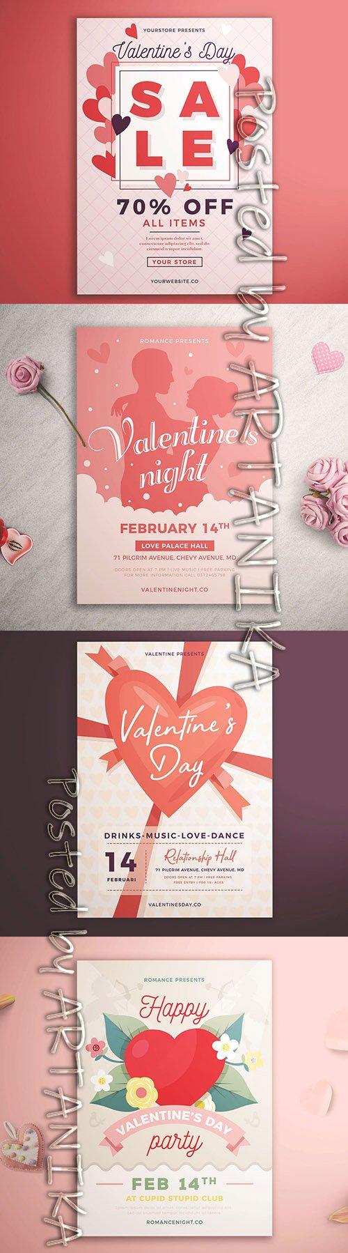 Valentines  Day Sale Flyer Template Set