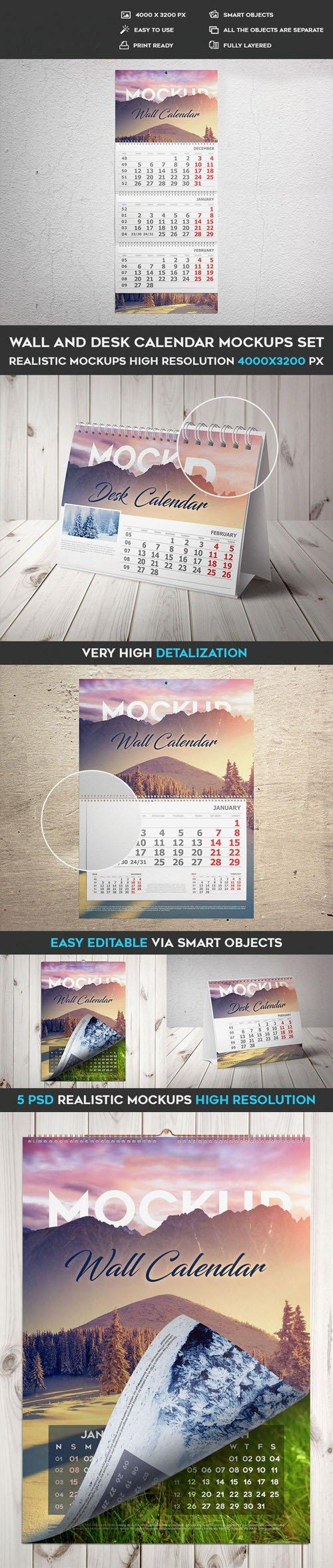 Wall & Desk Calendar PSD Mockups Templates