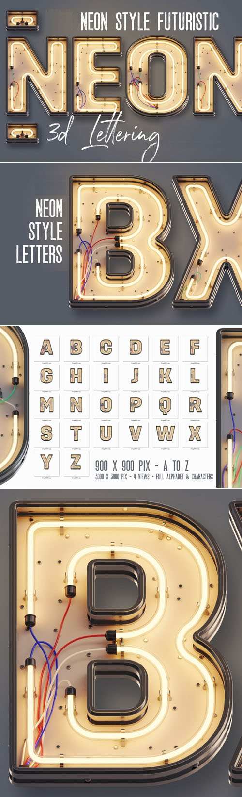 Neon Style Futuristic 3D Lettering A-Z