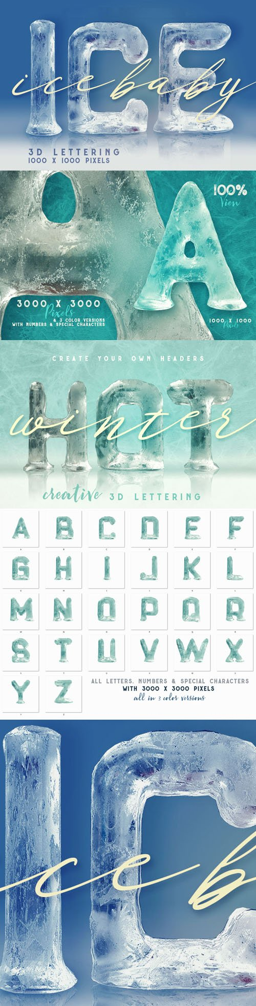 Ice Baby 3D Lettering Renders A-Z