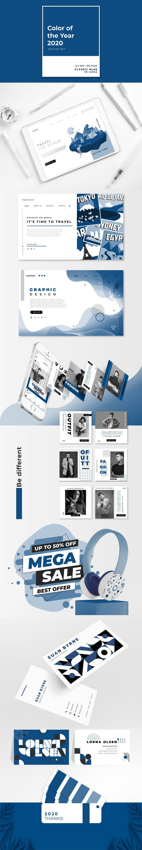 Color of the Year 2020, Classic Blue : Vector Set Collection