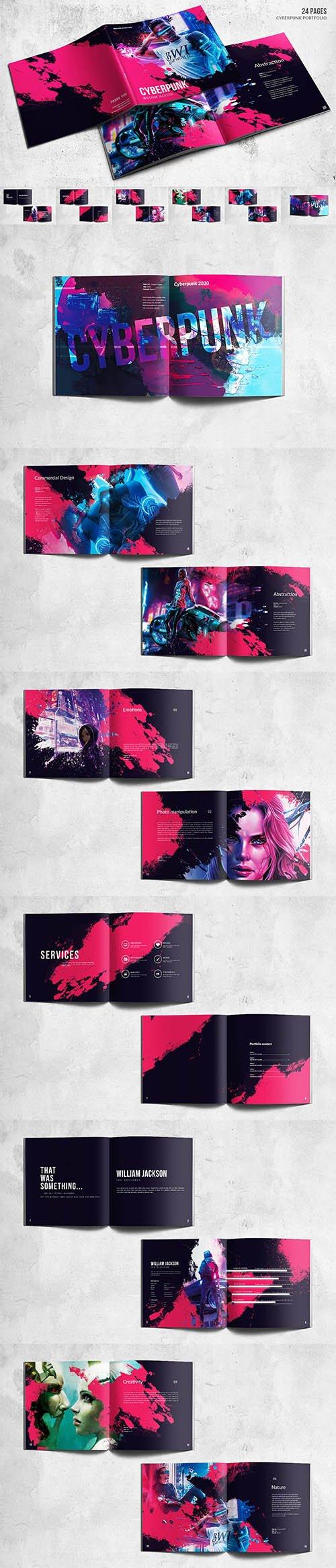 Square Cyberpunk Bifold Portfolio